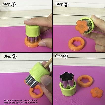 Verduras moldes formas molde Set (8 piezas) šCCortadores de Verduras Frutas en Forma de Flor, cortadores de galletas, cortadores de fruta galleta formas ...