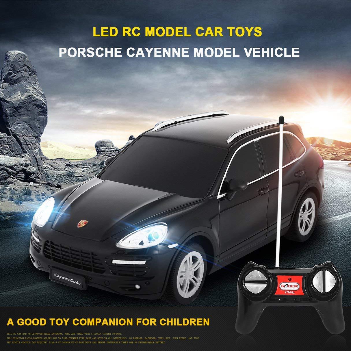 1:24 Escala LED Luces Radio Control Modelo de Coche Juguetes para Porsche Cayenne Turbo Modelo Amortiguador RC Modelo de Vehículo Juguetes para Niños: ...