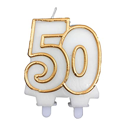 FLOMOUSA 50 50th Birthday Cake Party Candle