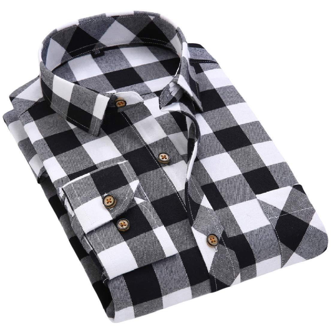 Wofupowga Mens Long-Sleeve Plaid Button-Down Lapel Collar Shirts