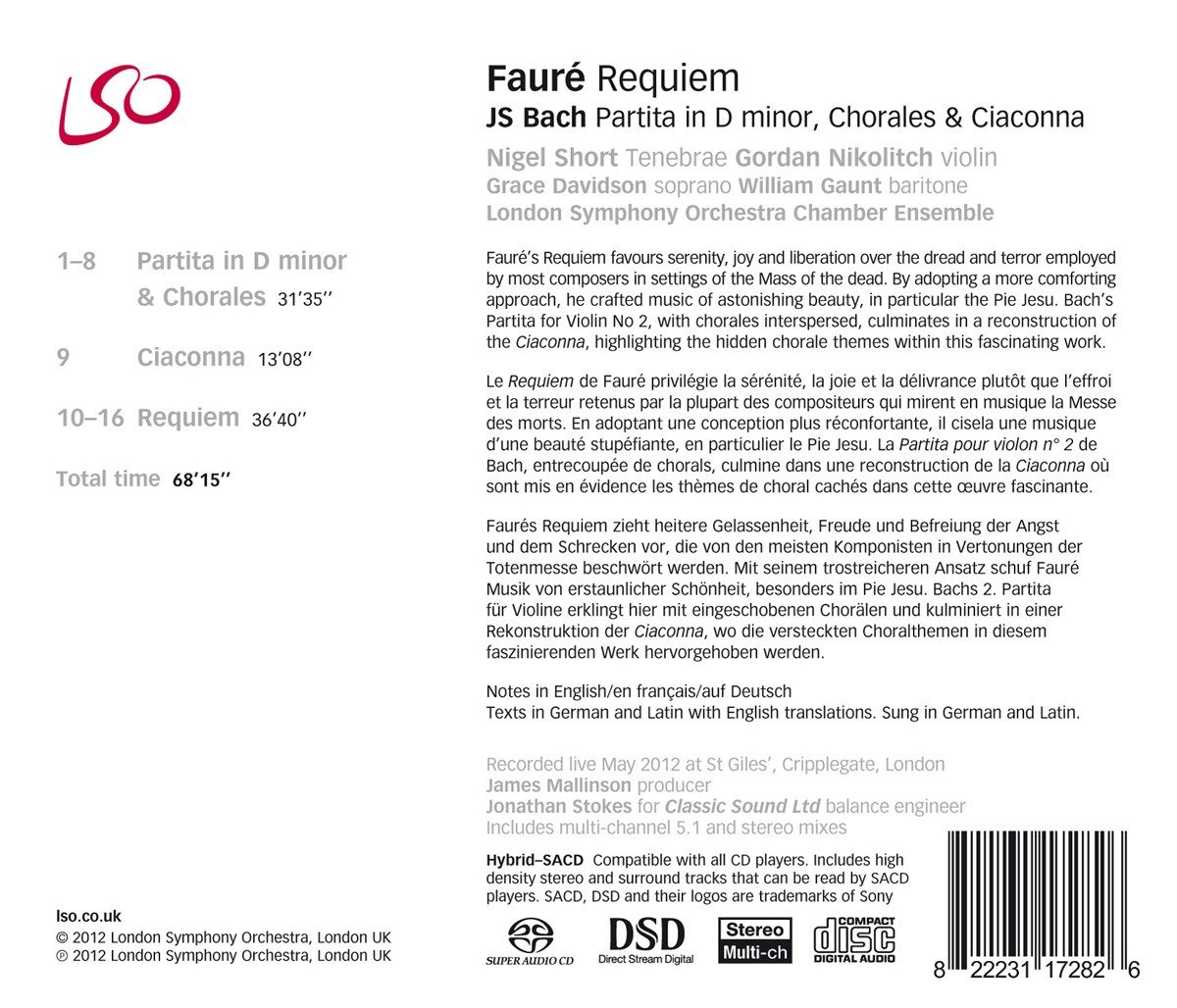 Fauré: Requiem; Bach: Partitas, Chorales & Ciaconna by LSO LIVE