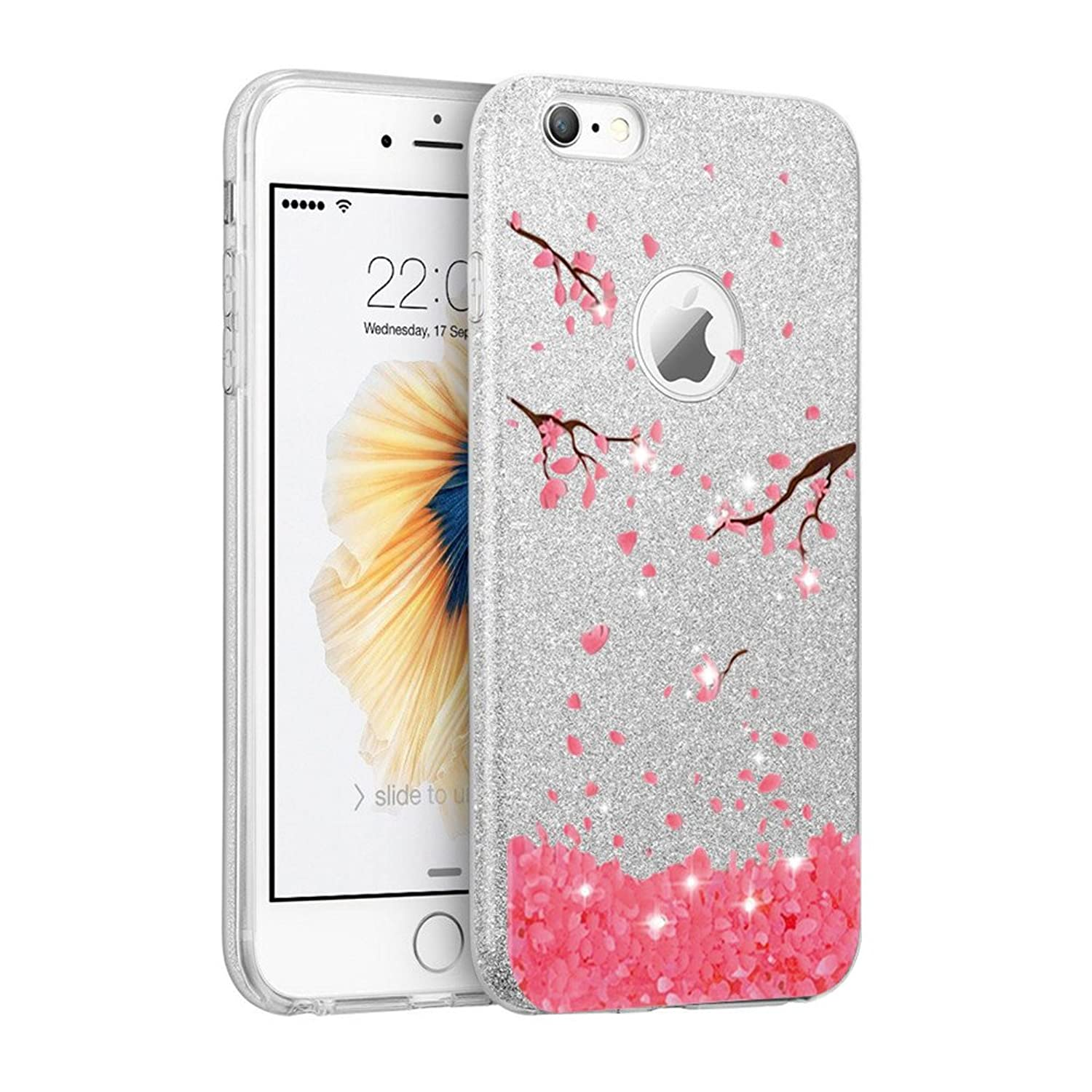 IPhone7 Plus Case, Bling Luxury Glitter Cover, Dual Layer Fashion Protective Soft Rubber Flexible Ultra light Slim Case for Apple iPhone8 Plus
