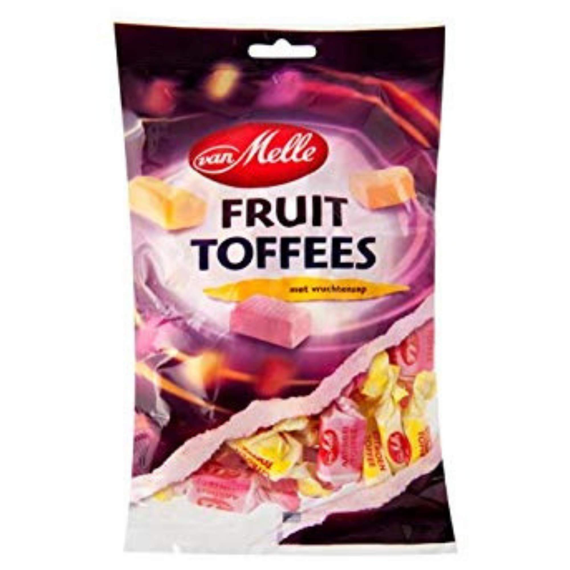 Van Melle Fruit Toffees Candies - (1-Pack) - Dutch Holland Imported Candy, 8.8 oz Per Bag