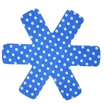 Alegría antideslizante de ollas y sartén Protector Pads, Pot y pan separador separador de/antideslizantes 8 Pcs Blue Waves White Dots: Amazon.es: Hogar
