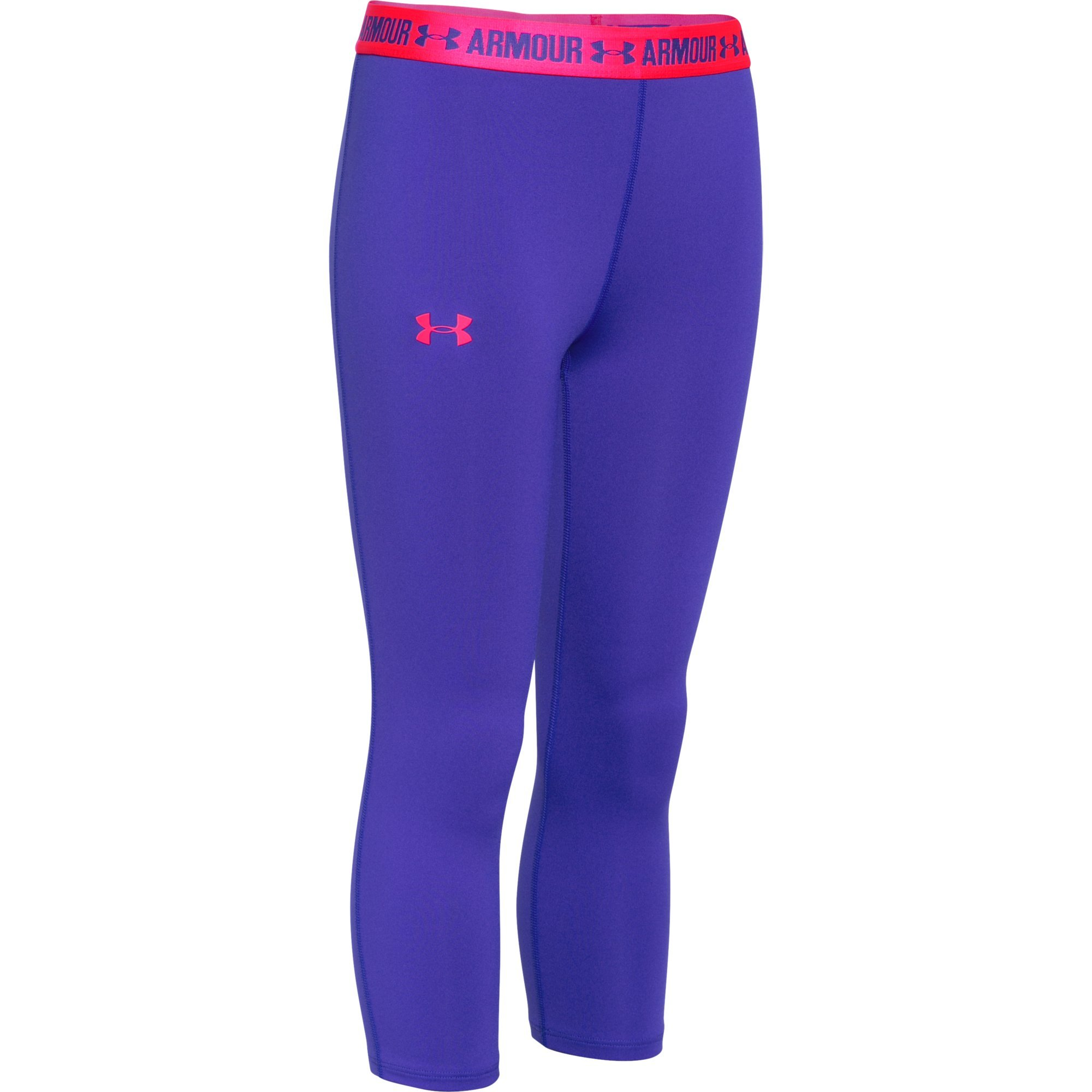 Under Armour Girls HeatGear Armour Solid Capri, Constellation Purple /Harmony Red, Youth Medium