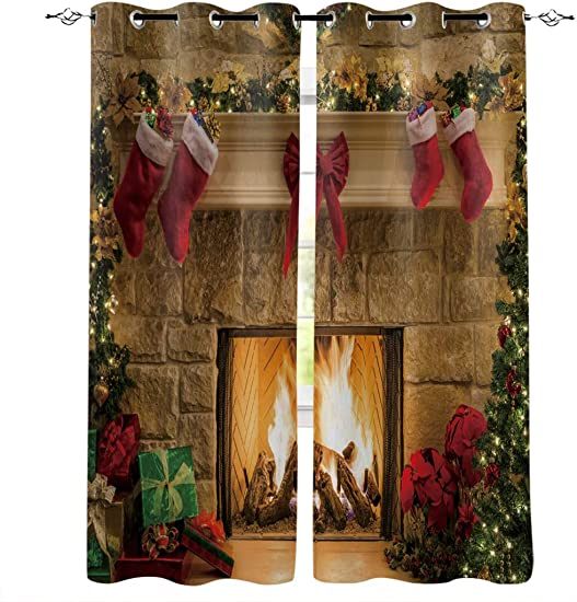 InvisibleWings Christmas Blackout Curtains 2 Panel