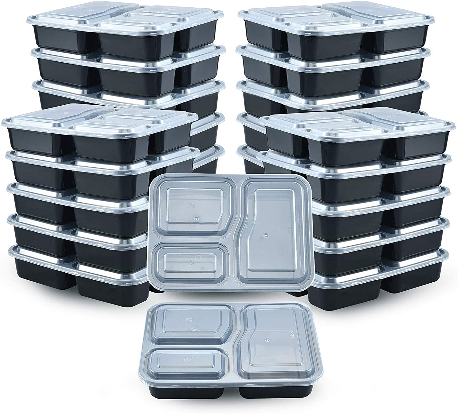 20 Pack Meal Prep Containers, 3 Compartment 32oz, Reusable Food Storage Container, Food Prep Containers, Disposable Food Container with Lids, Bento Lunch Box, Microwavable, Freezer, Deli Takeout