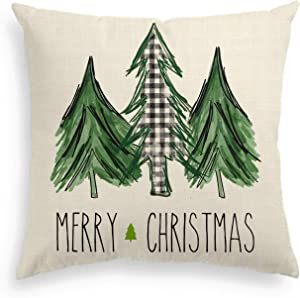 AVOIN Watercolor Christmas Tree Throw Pillow Cover, 18 x 18 Inch Holiday Buffalo Plaid Cushion Case Decoration for Sofa Couch