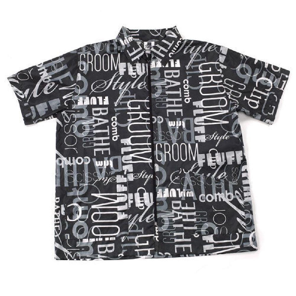 Black Graffiti Print Style Grooming Jacket Groomer Apparel Zip Front Choose Size