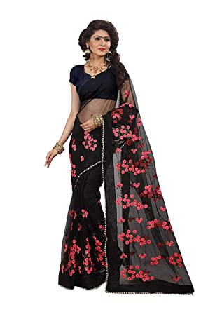 7d1b244544 SilverStar Women's Mono Net Embroidery Thread Work Saree with Moti Lace  Border and Blouse Piece (