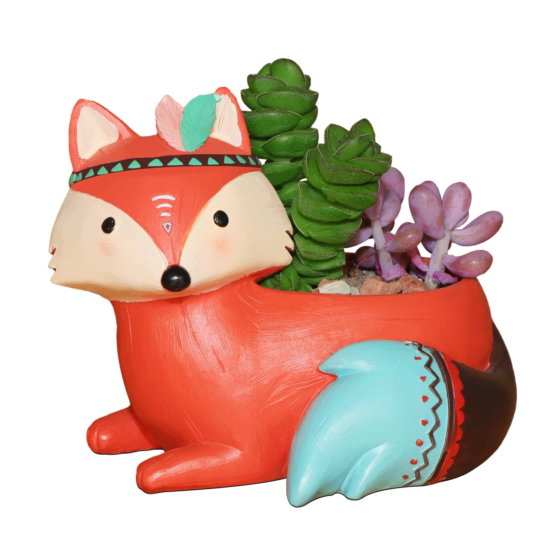 Megawa Cute Native American Style Animal Cartoon Home Decoration Vase Succulent Plant Pot Cactus Plant Pot Flower Pot Container Fox