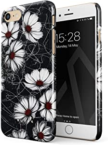 BURGA Phone Case Compatible with iPhone 7/8 / SE 2020 - Senseless Cosmos Dark Black Floral Pattern for Girls Cute Case for Women Thin Design Durable Hard Plastic Protective Case