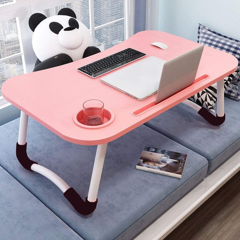 Laptop Bed Table Tray, Portable Laptop Desk with Phone Slot and Cup Holder, Study Table for Online School, Foldable Lap Desk Notebook Stand Breakfast Tray Book Holder for Bed/Couch/Sofa/Floor-Pink