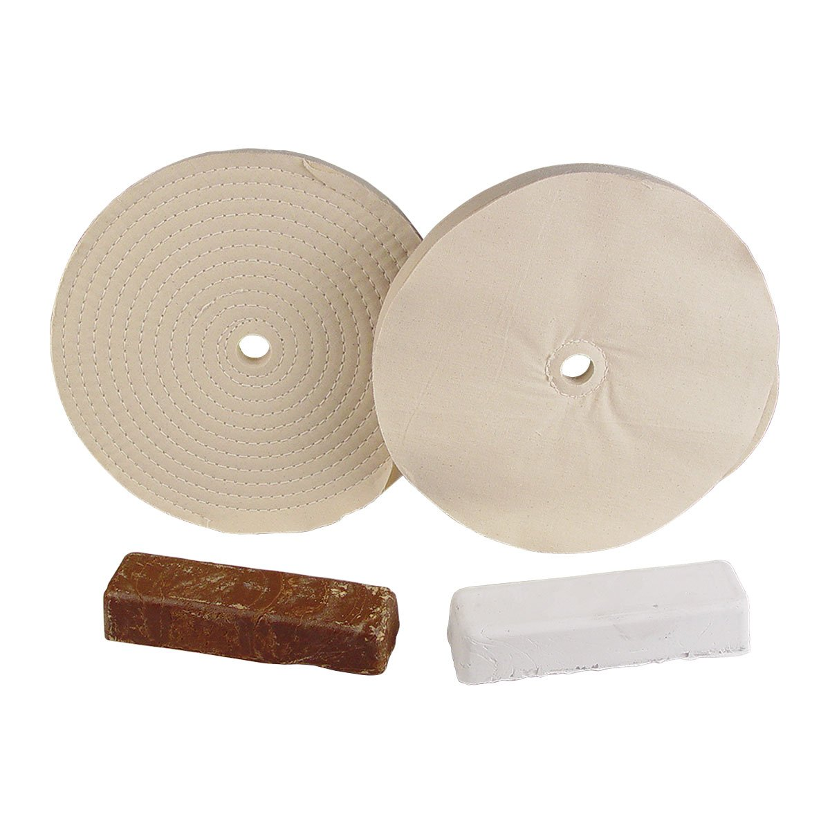 10'' Aluminum and Brass Buffing Set 8455-142, Fits 3/4''-7/8'' Arbor Hole, Made in USA