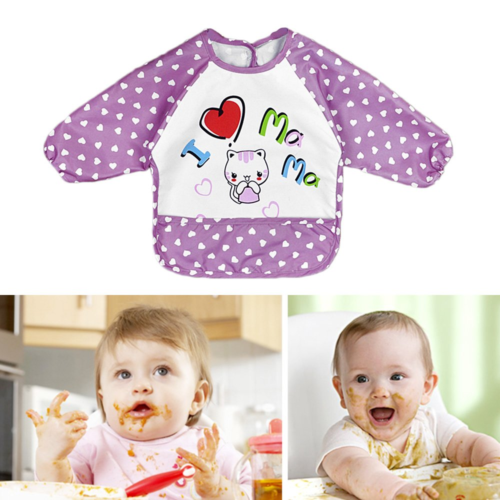 Unisex Cute Baby Drooling Teething Long Sleeve Bib for 1-3 Years Old Infants Toddlers Baby Feeding Accessories I Love Mama Pattern Purple