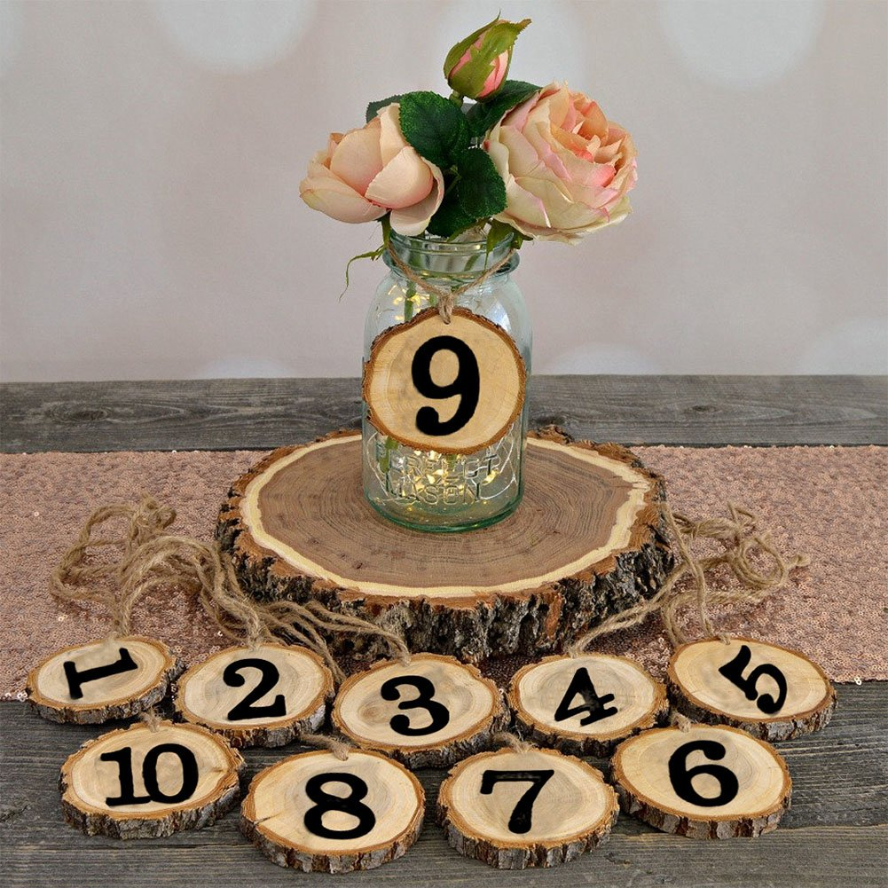 Fashionwu 10 Pcs Wooden Number 1-10 Hanging Table Cards Reception Seat Place Card Hanging Pendant for Wedding Party Decoration