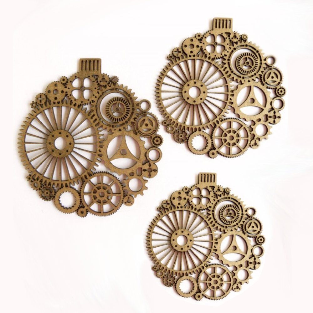 Creative Embellishments Steampunk Ornaments Laser Cut Chipboard 3 Piece Set
