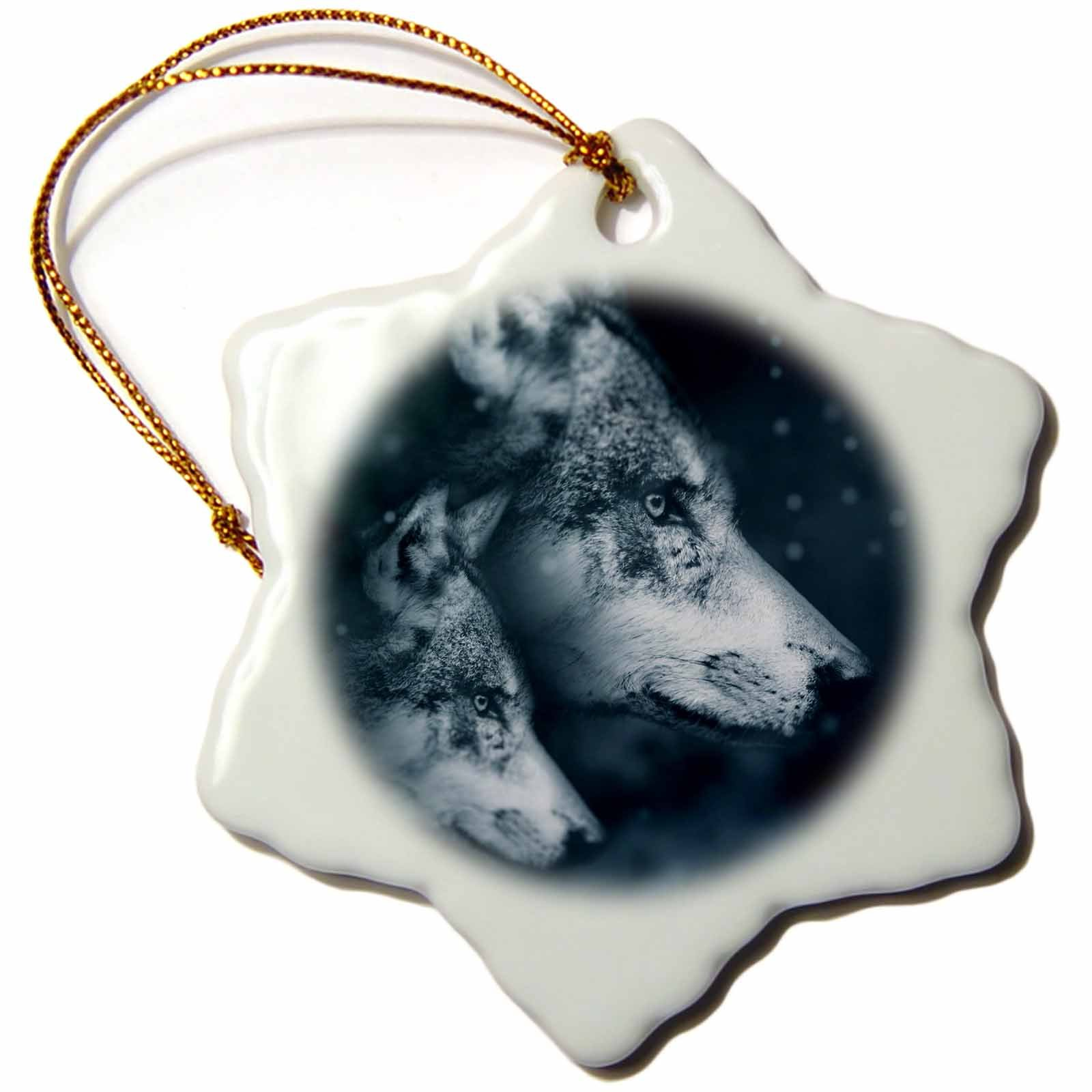 3dRose Grey Wolves Husky Family Puppy Animal Nature Design Photograph Snowflake Ornament, 3'',