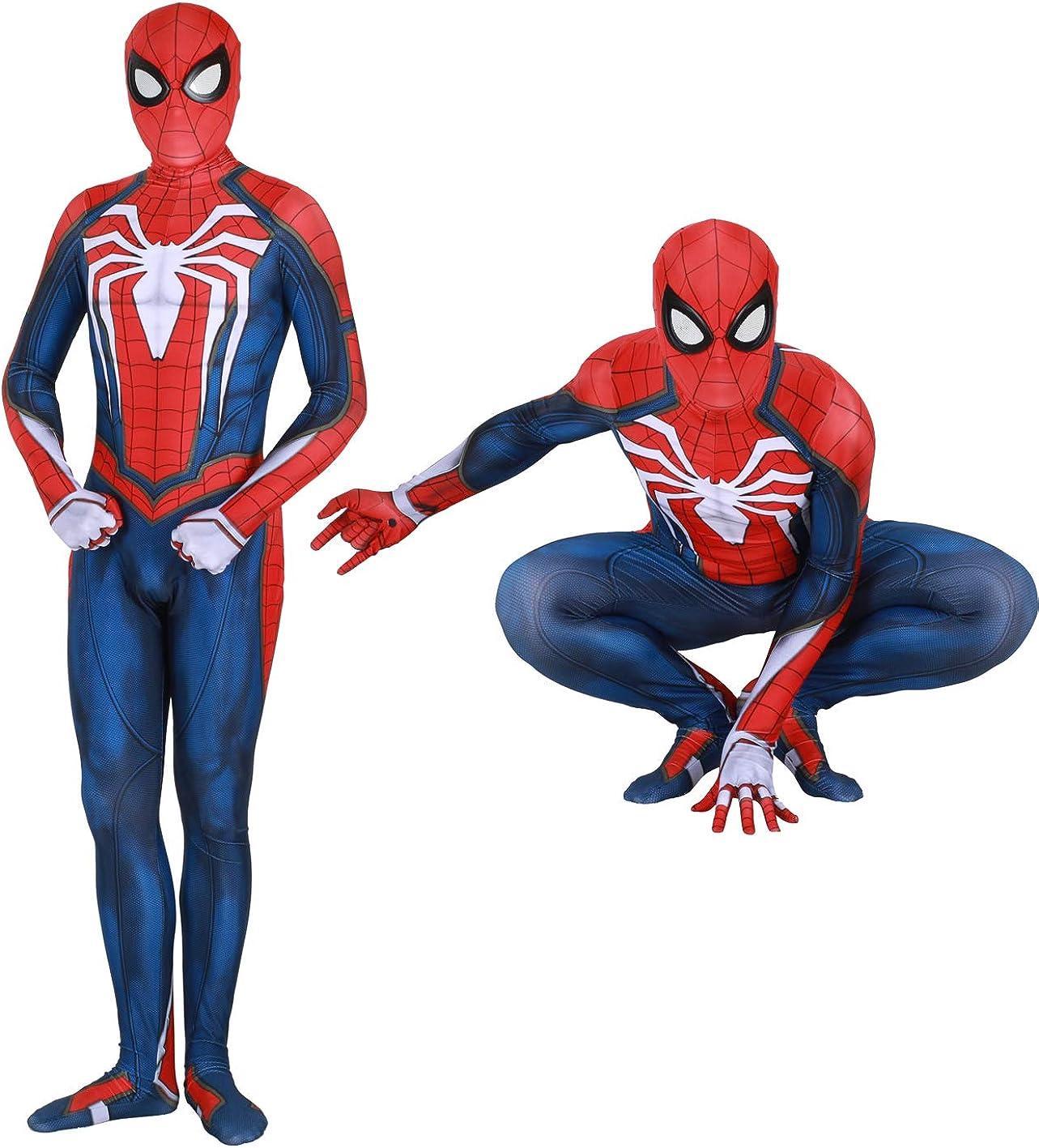 YuanMan Spider Man PS4 Insomniac Spiderman Costume 3D Print Spandex Halloween Zentai Suit Adult//Kids