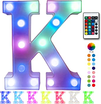 Pooqla Colorful LED Marquee Letter Lights with Remote – Light Up Marquee Signs – Party Bar Letters with Lights Decorations for The Home - Multicolor K