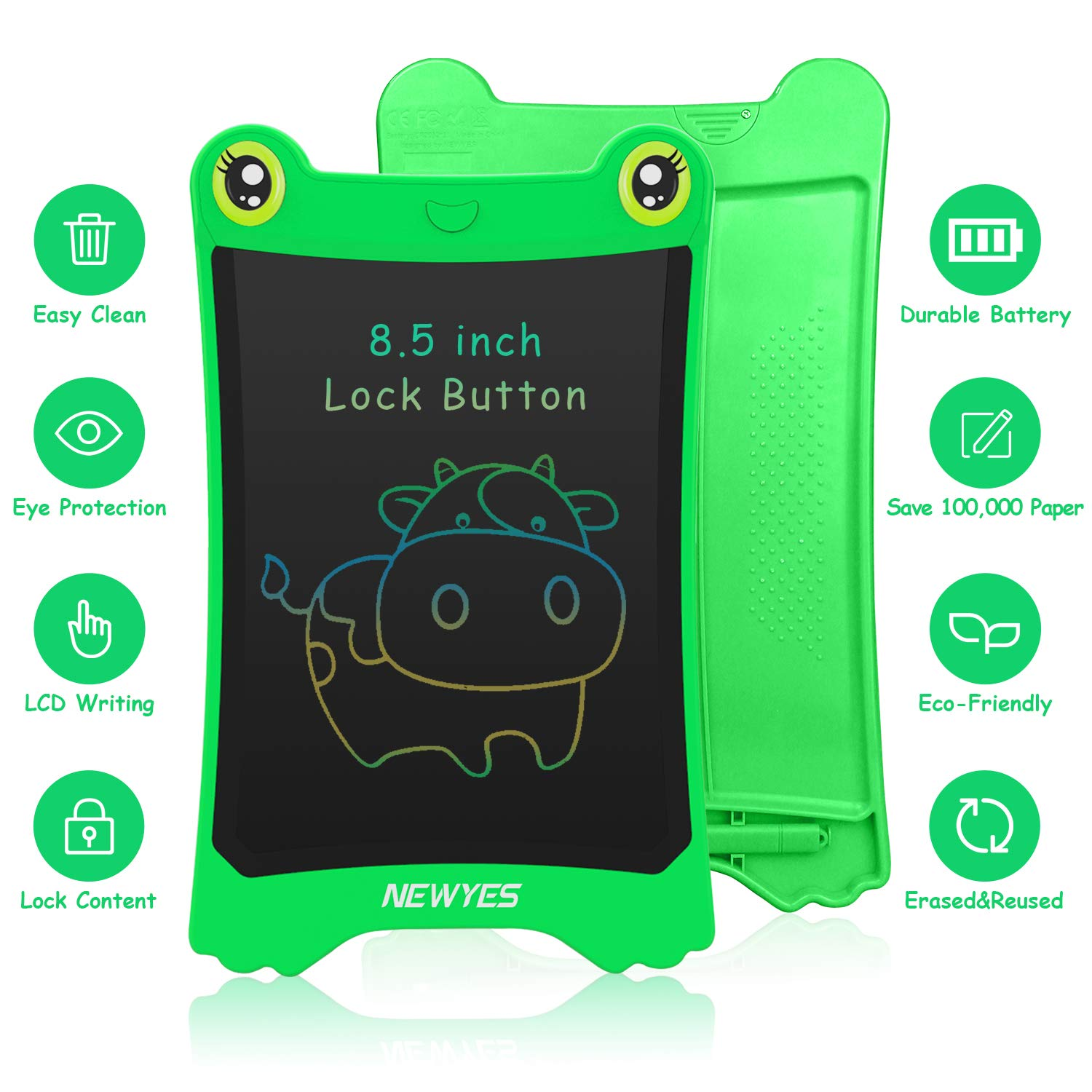 WOBEECO LCD Writing Tablet, 8.5 Inch Electronic Writing Board Doodle and Scribble Board for Kids (Green) by WOBEECO (Image #3)