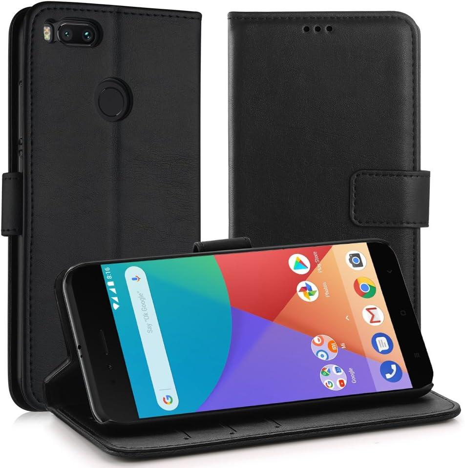Simpeak Funda Compatible con Xiaomi Mi A1 (5,5 Pulgadas), Carcasa Compatible con Xiaomi Mi A1 / MI 5X Fundas Cuero Compatible con Xiaomi Mi A1 Negro, Soporte Plegable