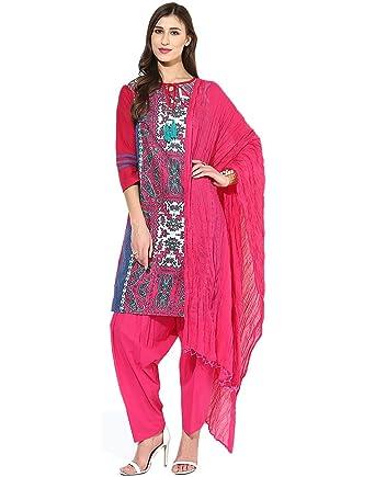 75df0d3cf8 Jaipur Kurti Pure Cotton Complete Set of Blue Kurta and Rani Pink Patiala  Dupatta(JKPTD2648_blue_Small