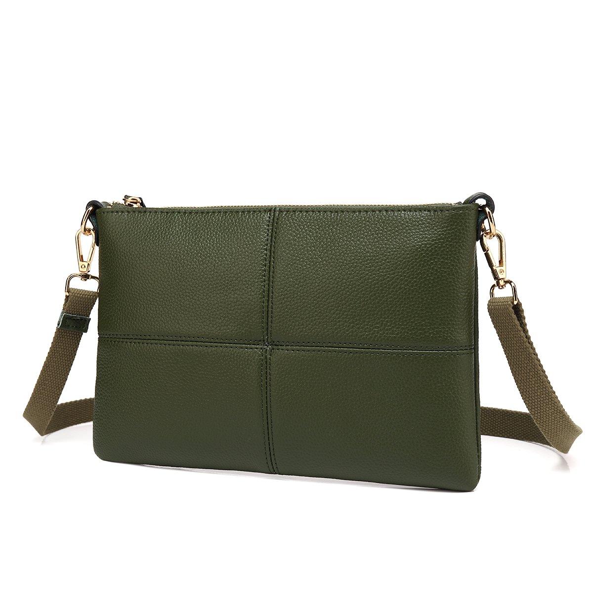 Women Leather Crossbody Bag,Clutch Purse Shoulder Bag for Travelling Dark Green by Galaxy Wolf