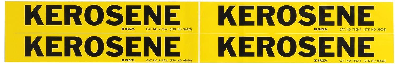 Brady 7169-4 Self-Sticking Vinyl Pipe Marker Black On Yellow Pressure Sensitive Vinyl B-946 Legend Kerosene 1 1//8 Height X 7 Width