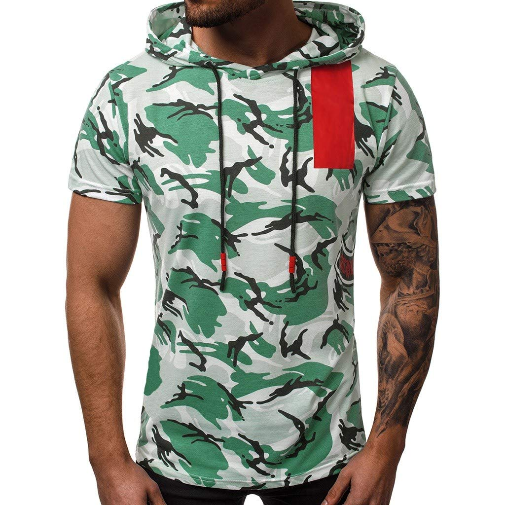 Yellsong Camouflage Cap Vest for Men,Tank Top Mens Slim Fit Basic Camouflage Print Short Sleeve T-Shirt Hoodie Shirt Zipper Vest with Pockets