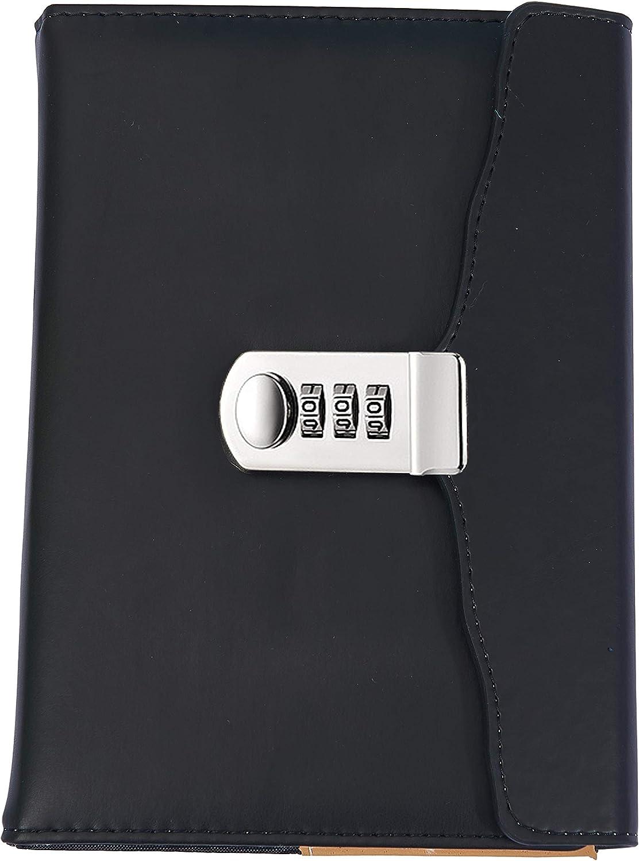 A5 Travel Notebook Agenda Segreto Taccuino con Password Lirener Vintage Retr/ò Tri-fold PU Pelle Diario Taccuino Progettista Organizzatore con Serratura a Combinazione Portapenne 150x220mm