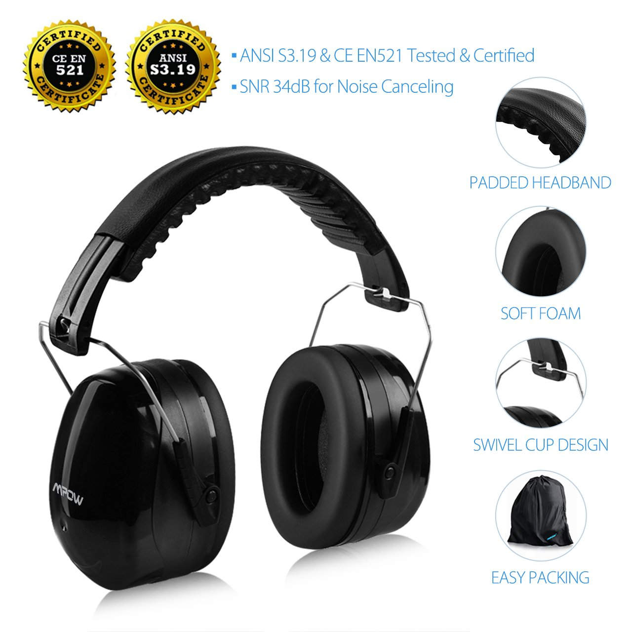 casque antibruit adulte protection auditive passif d fenseur r glable snr 34db ebay. Black Bedroom Furniture Sets. Home Design Ideas