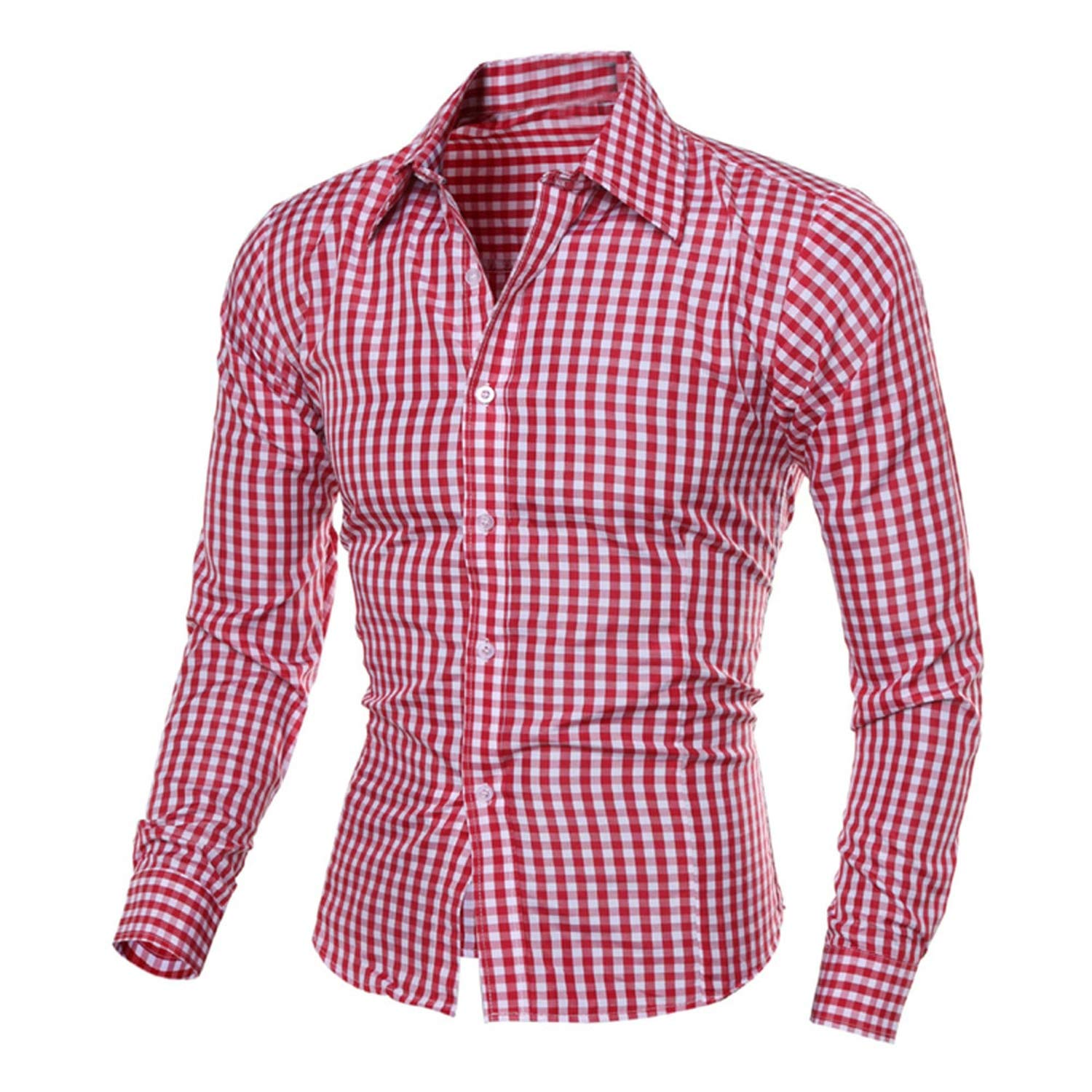 Men Shirts Long Sleeve Cotton Business Casual Shirt #W35,Red,L