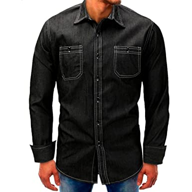 Realdo Mens Denim T-Shirt, Casual Fashion Long Sleeve Button Down Turtleneck Splice Tops
