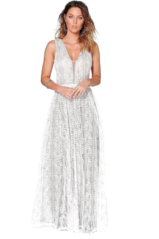 White Womens Boutique Ali All Lace Plunge Neck Maxi Dress