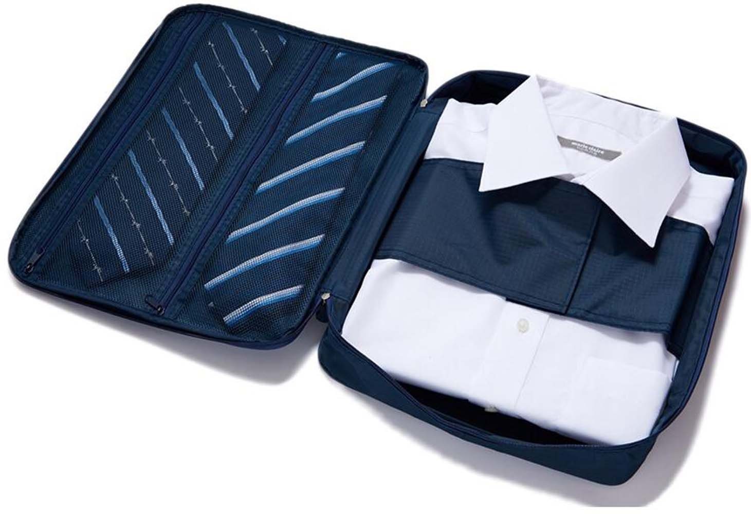 Sac de Cravate de Chemise Sac de Vêtements Sans Ride Voyage Imperméable Bien Rangé, Valise Boîte de Stockage (Bleu)