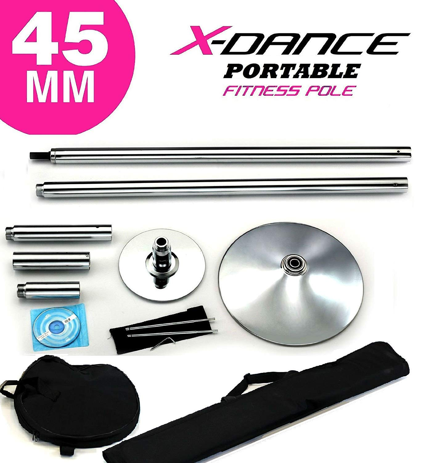 X-Dance 用 クローム 45 mm     練習用    Fitness Removable Pole Dance Stripper with 2 Black Portable Carry Bags Chrome Dancing Spinning Pole   B07H6WXX18