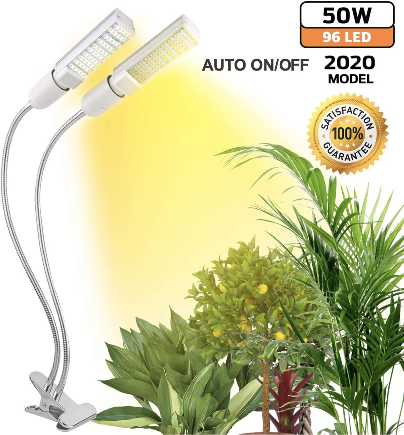 50W Plant Grow Light for Indoor Plants Sunlike Bright Full Spectrum LED Grow Lamp, Dual Head Adjustable Replaceable Bulbs Succulent Plant Growth Lamp Flowering with Dimmer Auto Timer