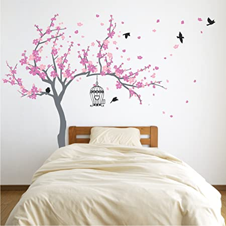 """NEW XL 74""""x51"""" White Cherry Blossom Tree w//Bird Cages Wall Decor Decal Sticker"""