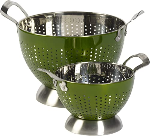 Epicurious Two Piece Stainless Steel Colander Strainer Rinsing Bowl Set