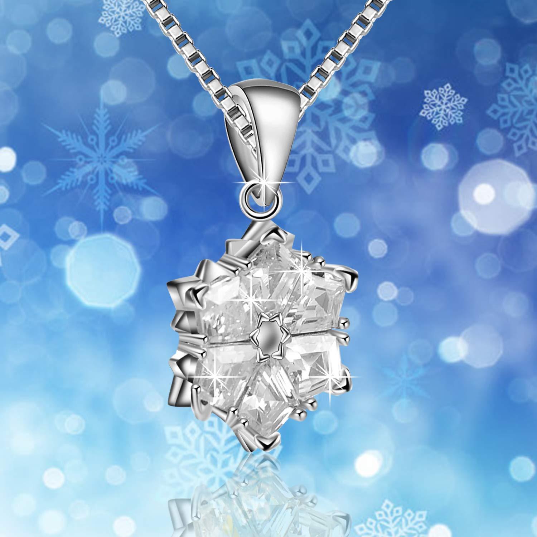 925 Sterling Argent Mariage No/ël Cadeau Mode Bijoux Amilril Collier Flocon de Neige P/étale Pendentif Anniversaire