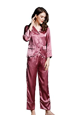 64f64fc9989e Lady s Silk Pajamas Sets Homewear Nightwear Sleepshirts Brick Red M