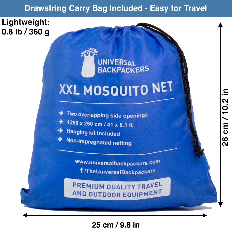 Auvent de Lit /à 2 Ouvertures ou Enti/èrement Ferm/é Universal Backpackers Moustiquaire pour Lits Individuels Jusqu/'aux Lits de Grande Taille Sac de Voyage et Kit de Suspension Gratuits
