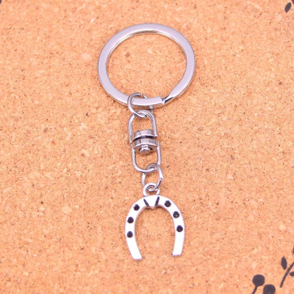 TAOZIAA Moda Amuleto EncantoAstilla Llavero Plateado Suerte Herradura Caballo aleación Llavero para Regalo Coche Llavero joyería