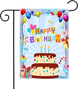 Happy Birthday Cake Deserts Presents Home Garden Flag Outdoor House Flag 12x18 inch Double Sided