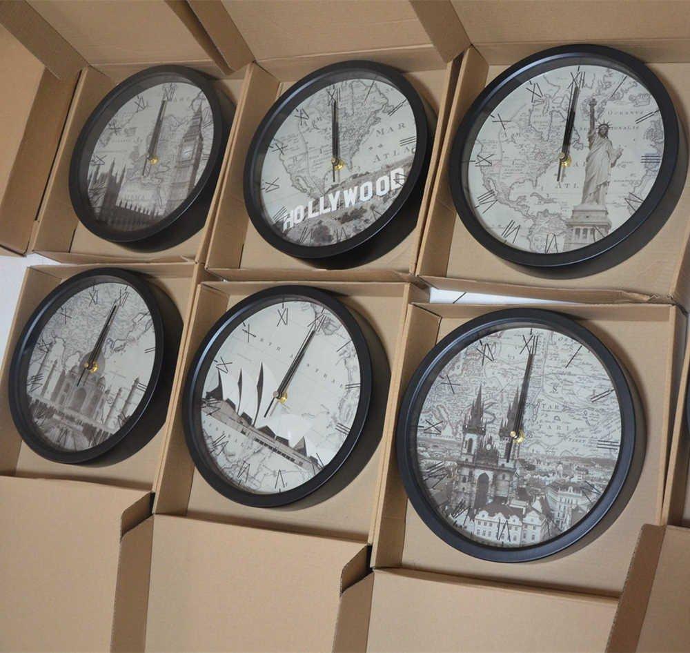 10inch India Agra City Taj Mahal Hotel Lobby Wall Clock Non Ticking Sweep Movement Wall Clock