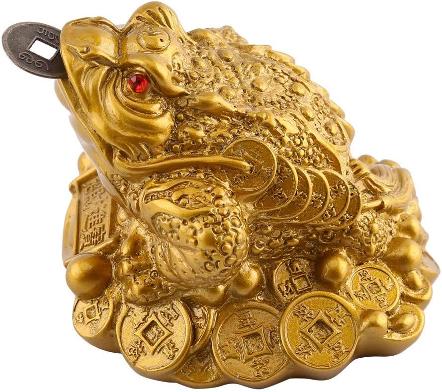 Chinese Feng Shui Money Frog Fortune Coin Money Toad Chinese Charm Wealth Lucky Money Frog Coin Toad for Home Office Decoration Good Lucky Gift 6.5X6X5cm