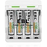 EBL 充電器充電池セット 二代目急速単三(AA)/単四(AAA)両用型充電器+単四1100mAh(AAA)ニッケル充電池4本付き 同時充電可能 約1200回使用可能