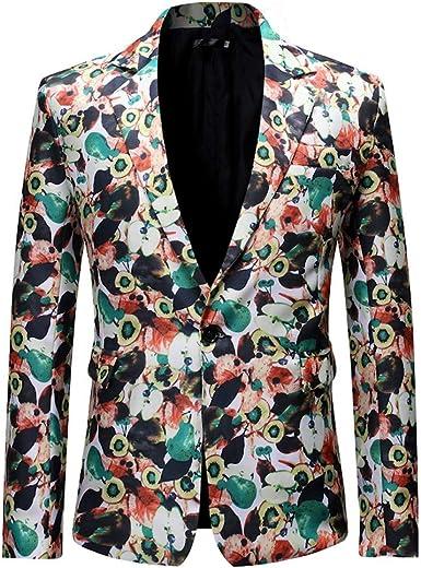 Tosonse Blazer Vestido De Hombre Traje Floral Solapa con Muesca ...
