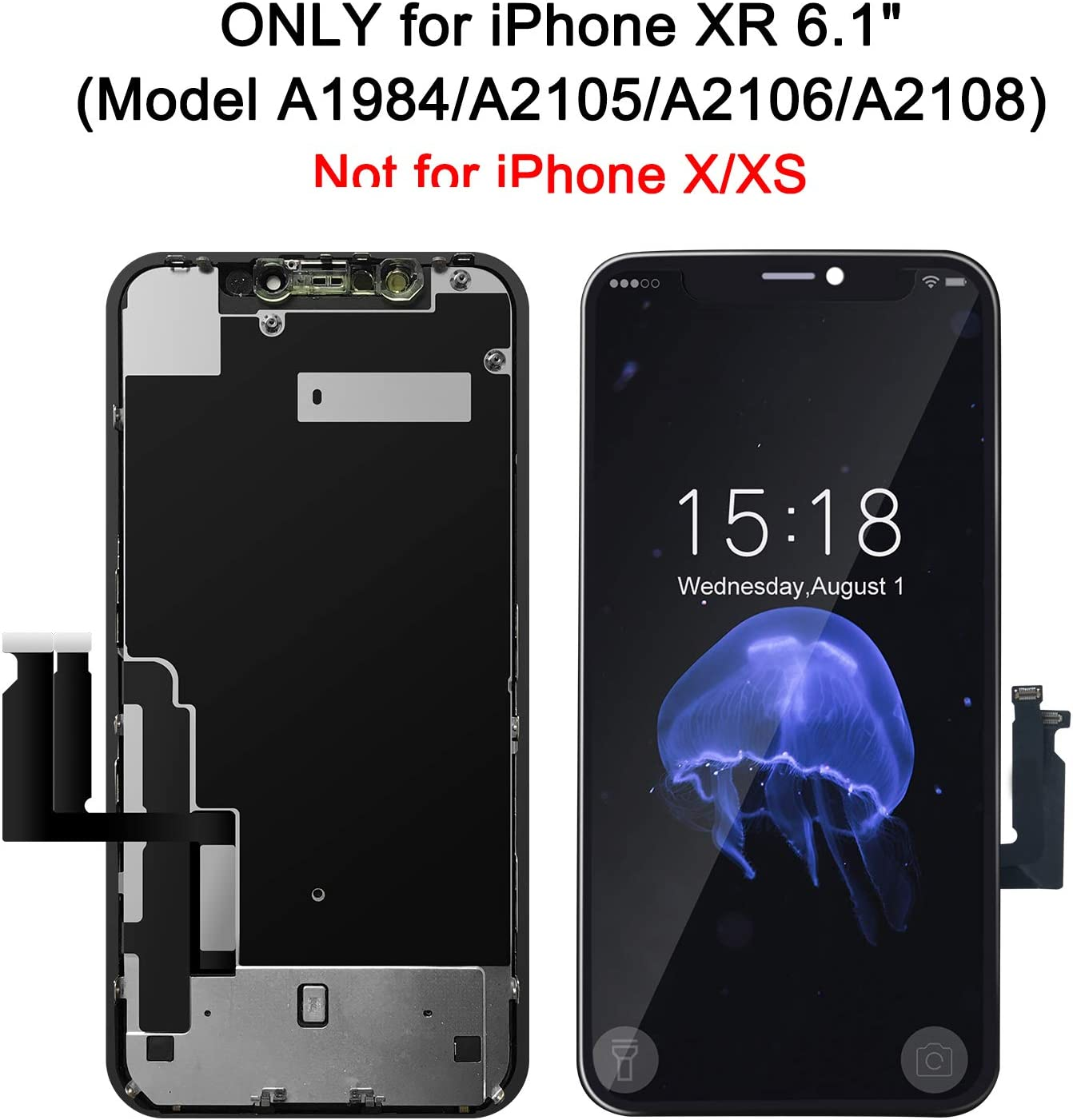 BeeFix Screen Replacement for iPhone XR 6.1 Inch LCD Touch Digitizer Display Frame Assembly with Complete Repair Tool Kit NOT FOR X//XS